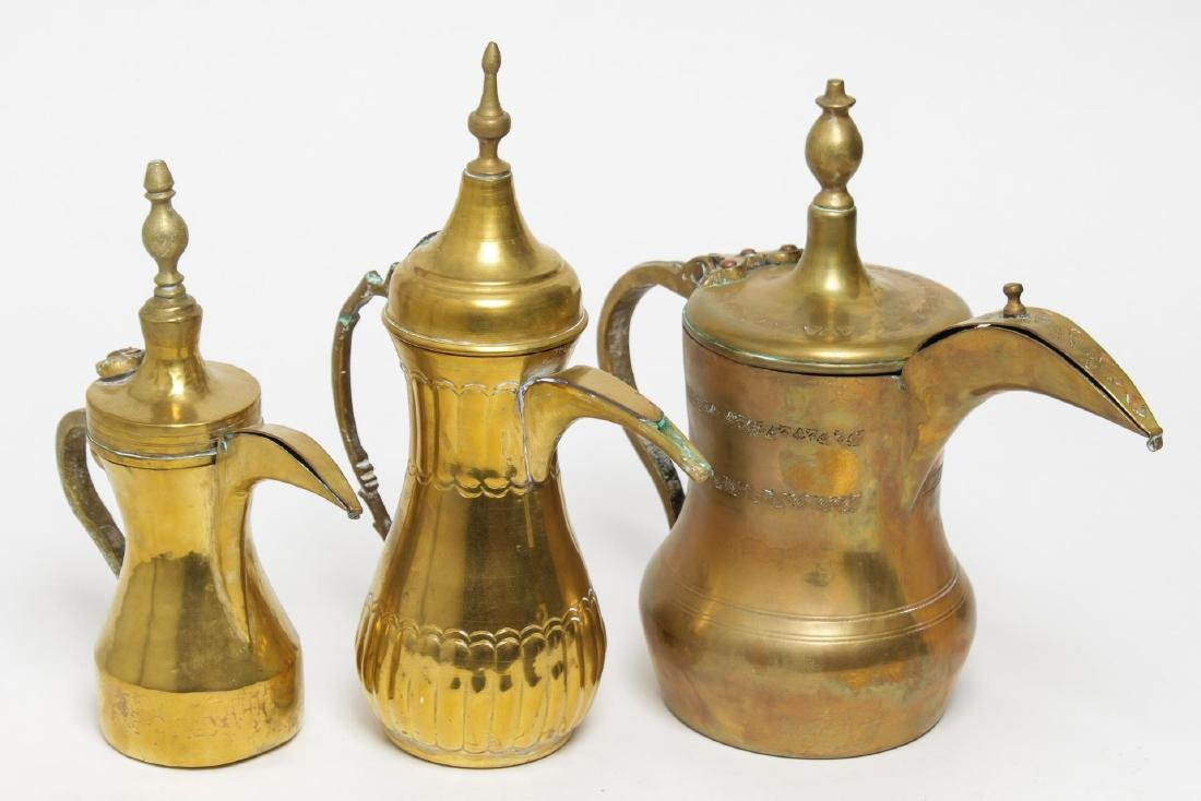 Islamic Turkish Brass Dallah Coffee Pots-3 Vintage
