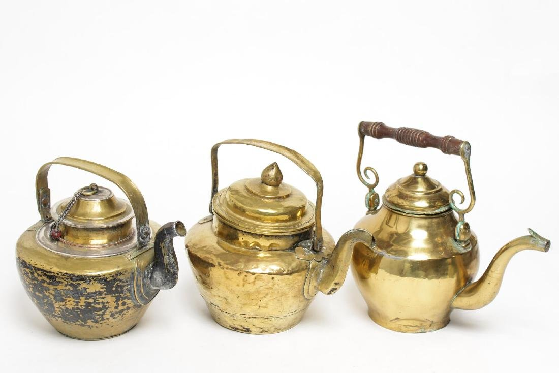 Indian & Tribal Brass Tea Pots, Vintage Group of 3