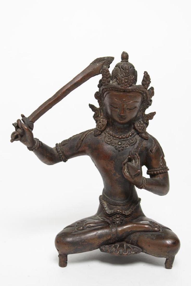 Tibetan Bronze Manjushri with Flaming Sword