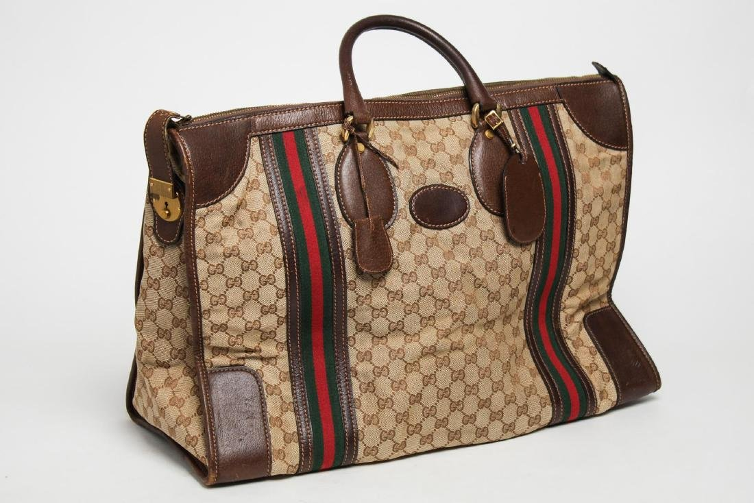Vintage Gucci Travel Duffel Bag, Monogram Canvas