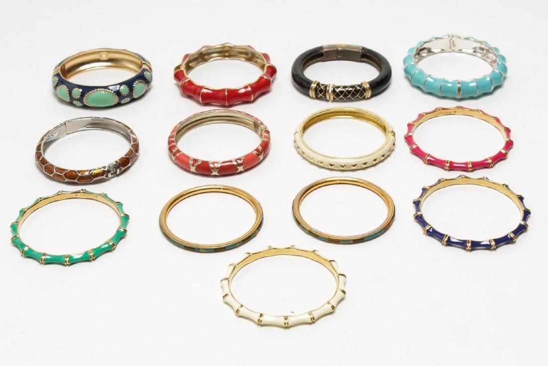 Vintage Enamel Bracelets, Costume Jewelry, 13 Pcs