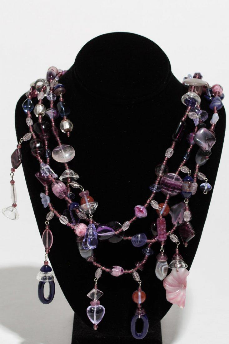 Amethyst Glass Necklace, Studio Jewelry
