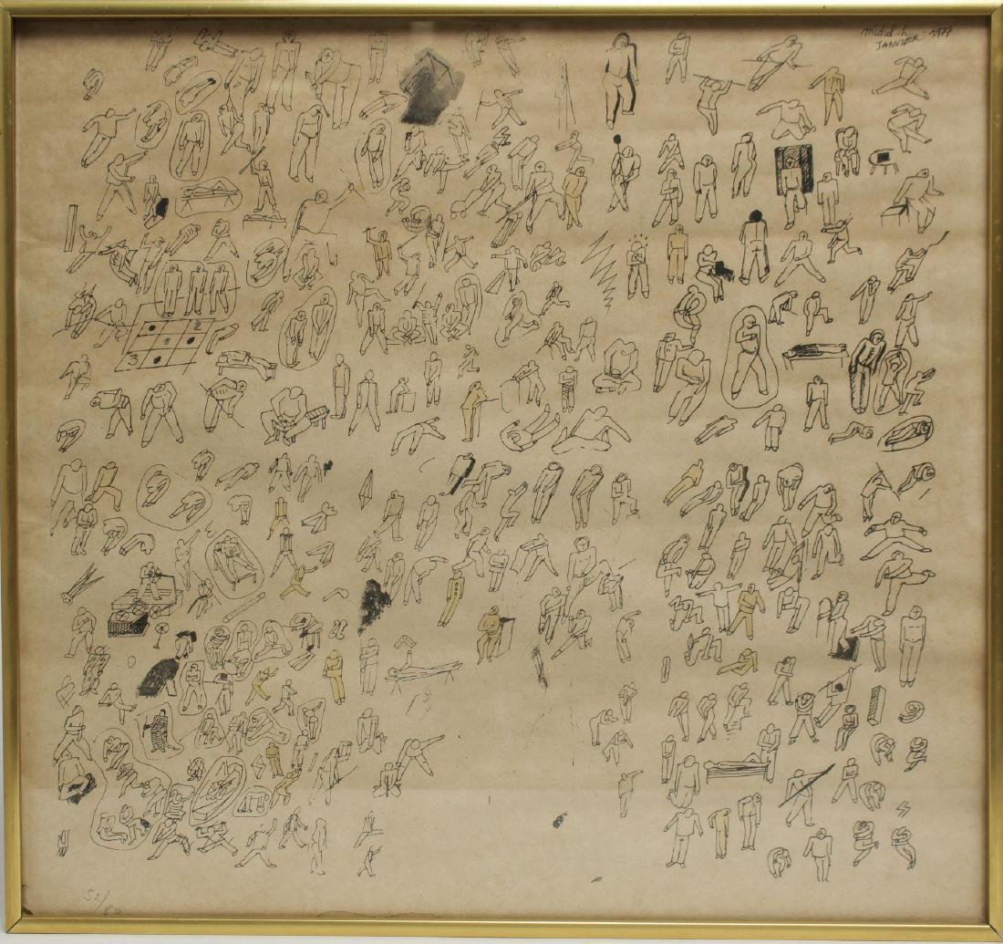 Signed Michel H- Etching, Mid-Century