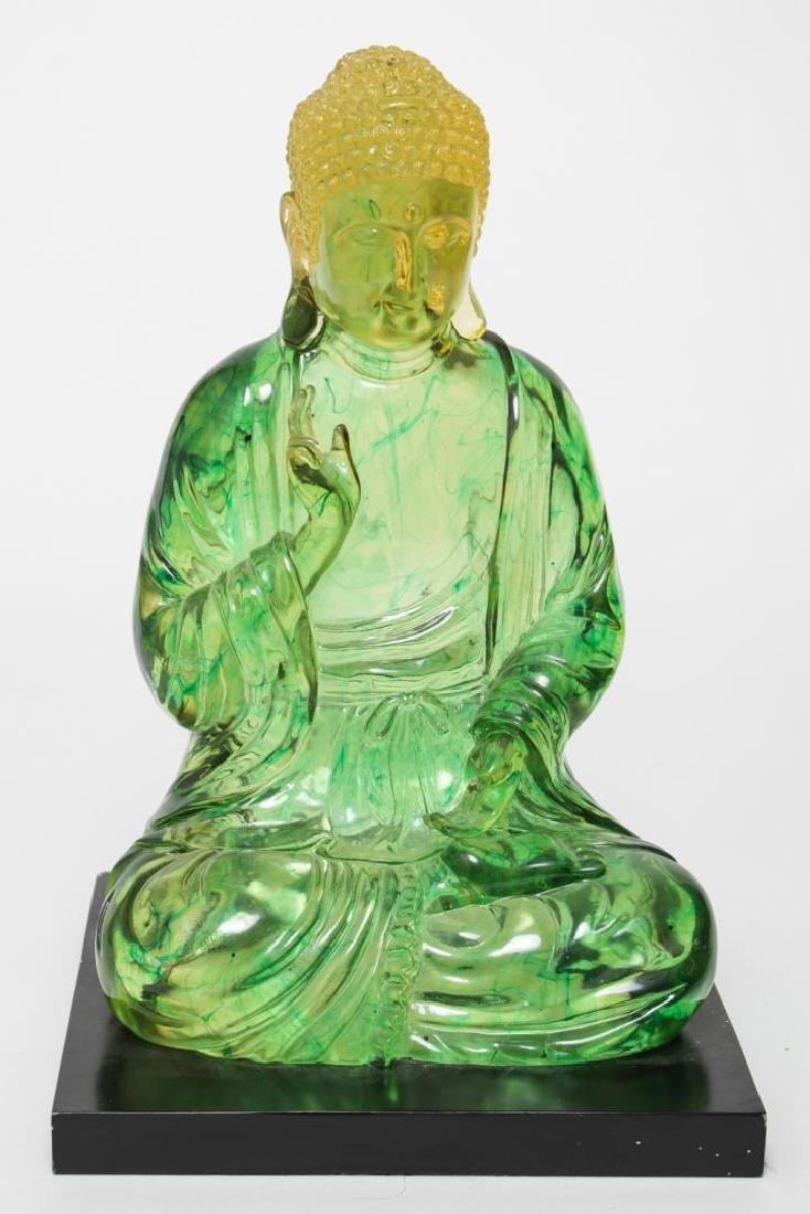 Modernist Buddha Sculpture, Clear Green Acrylic