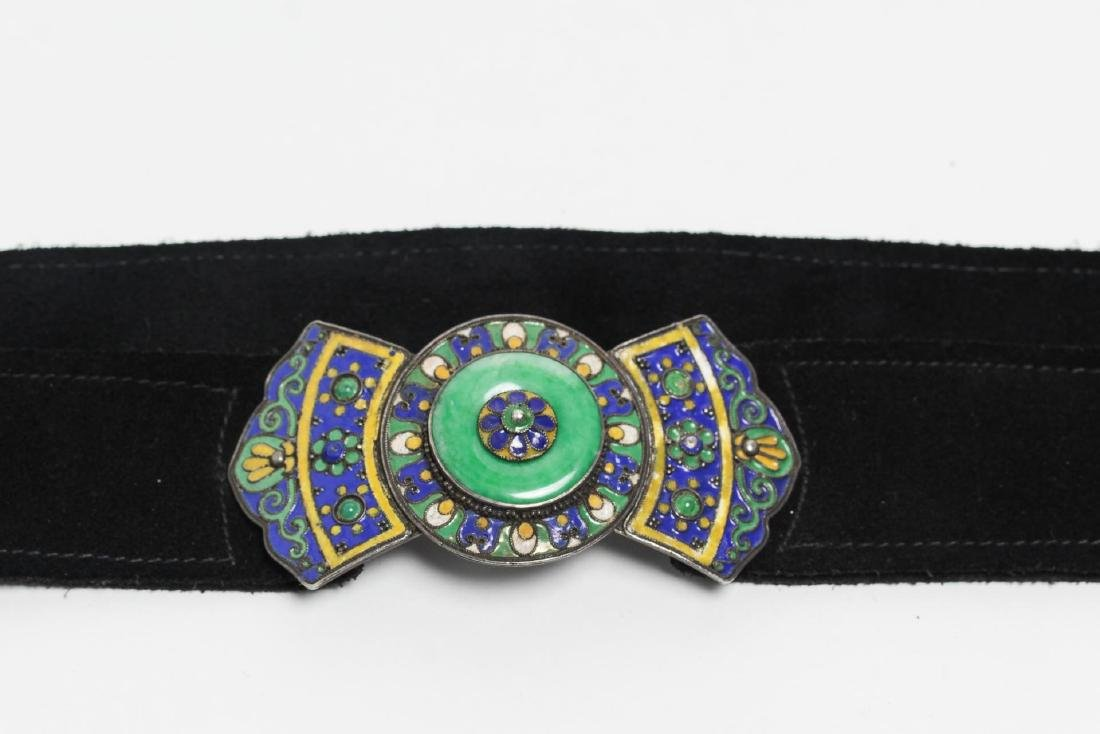 Berber Enameled Silver Belt Buckle, with Jade Disc