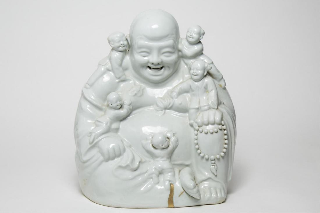 Chinese Porcelain Budai Laughing Buddha w. Boys