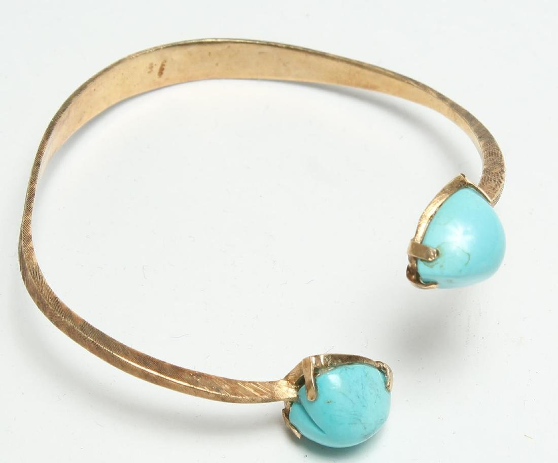 Modernist Bracelet, 14K Gold with Turquoise Hearts
