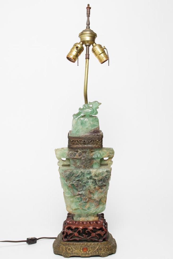 Chinese Carved Celadon Hardstone Urn Lamp