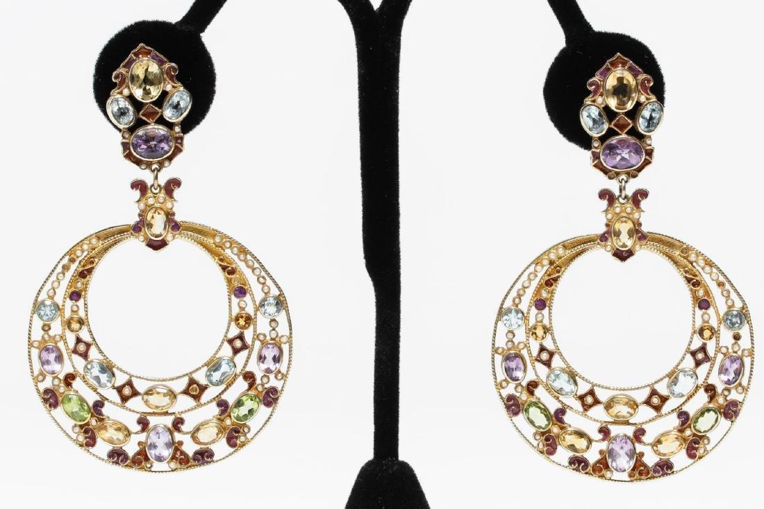 Percossi Papi Earrings, Silver & Semiprecious