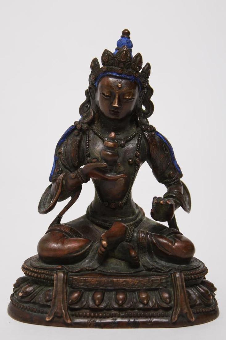 Tibetan Patinated Bronze Buddha in Vitarka Mudra