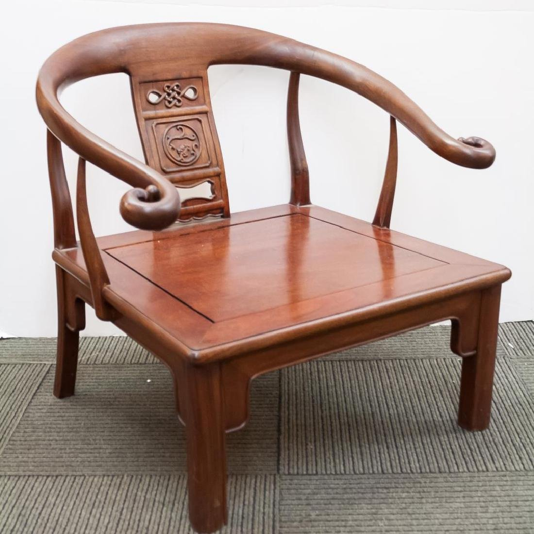 Chinese Arm Chair, Carved Wood with Horseshoe-Back