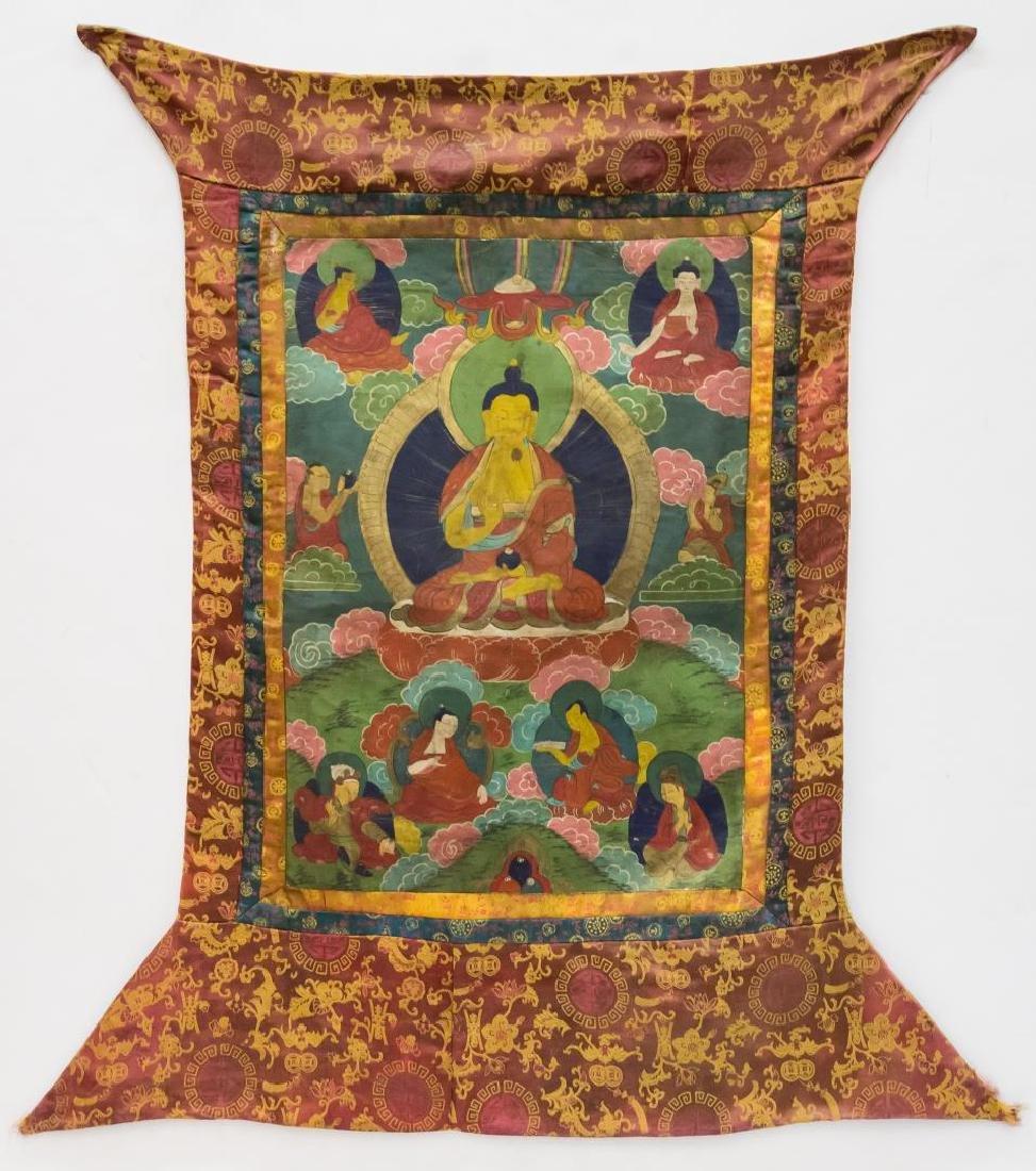 Tibetan Thangka Painting, Buddha with Disciples