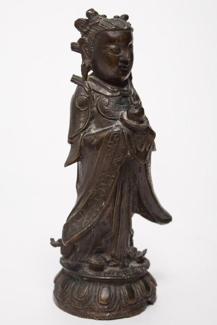 Chinese Buddha Attendant Figure, Patinated Bronze
