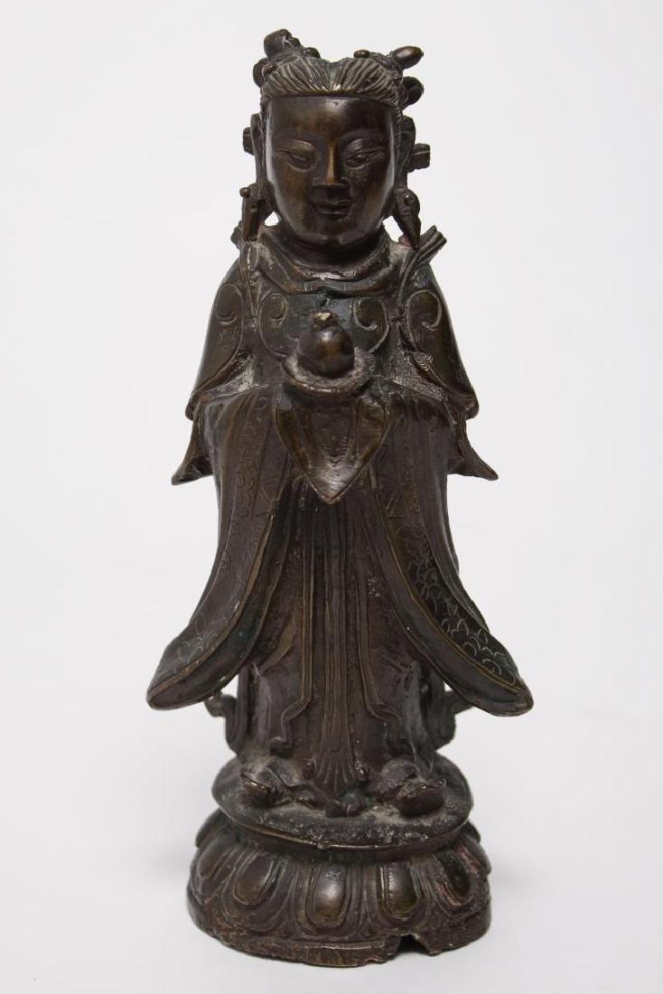Chinese Buddha Attendant Figure, Patinated Bronze - 2