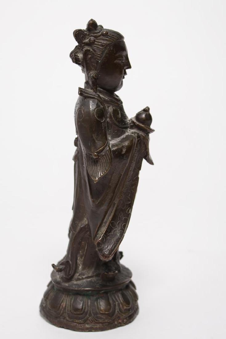 Chinese Buddha Attendant Figure, Patinated Bronze - 3