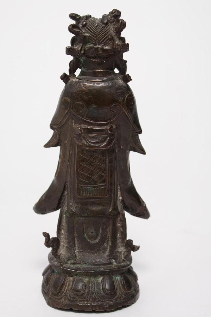 Chinese Buddha Attendant Figure, Patinated Bronze - 4