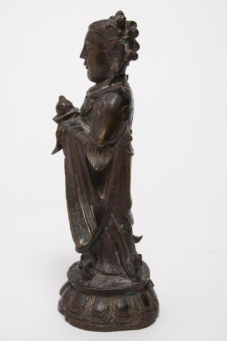 Chinese Buddha Attendant Figure, Patinated Bronze - 5