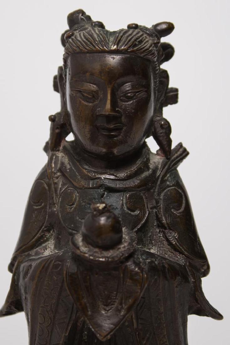 Chinese Buddha Attendant Figure, Patinated Bronze - 6
