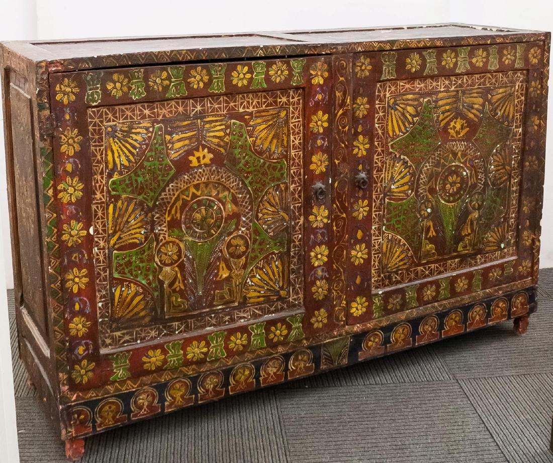 Tibetan Storage Cabinet, Antique Hand-Painted Wood