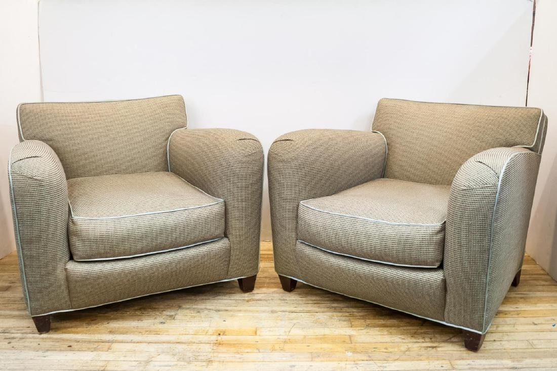 """Donghia """"Main Street"""" Upholstered Club Chairs, Pr"""