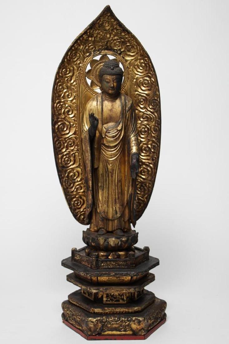 Asian Buddha, Carved & Painted Wood, Vitarka Mudra
