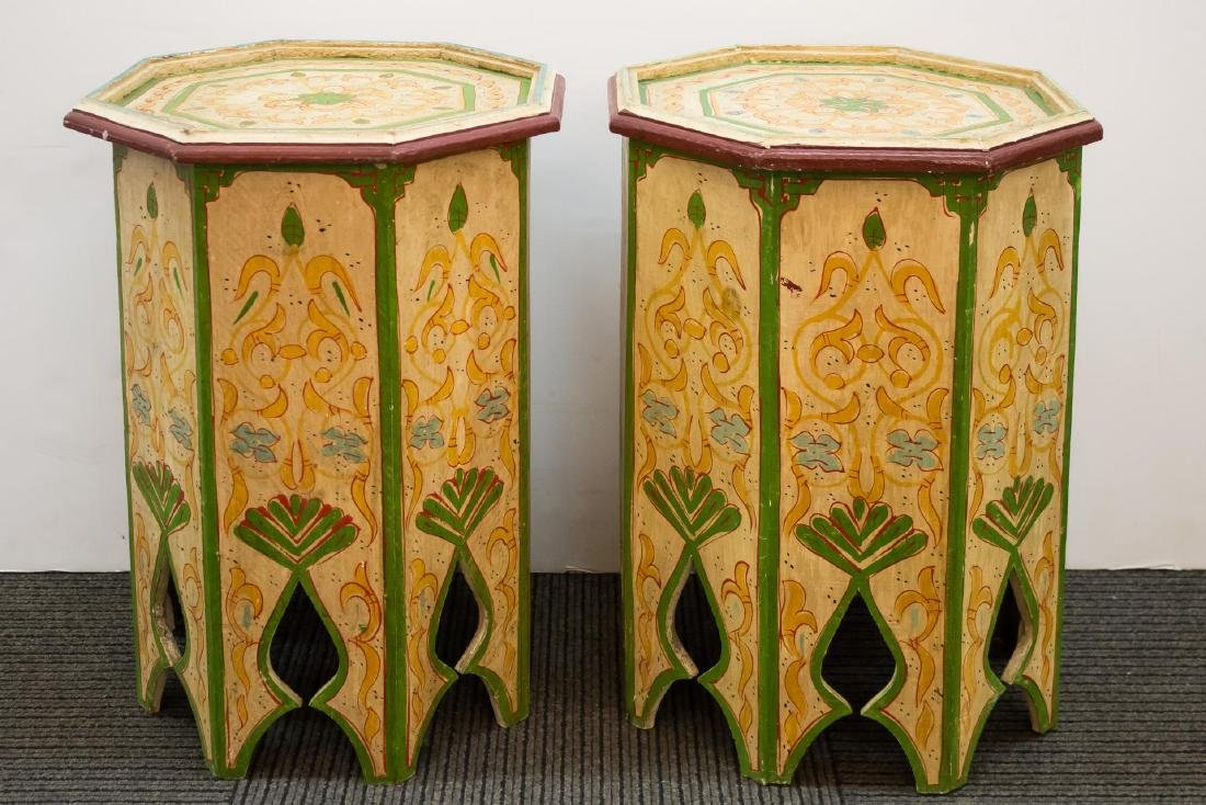 Moroccan Side Tables, Painted Wood