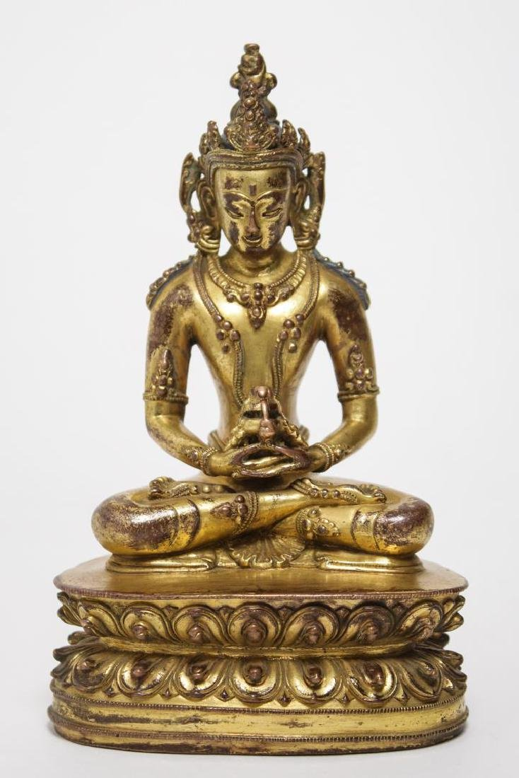 Tibetan Buddha Amitabha Figure, Gilt Bronze