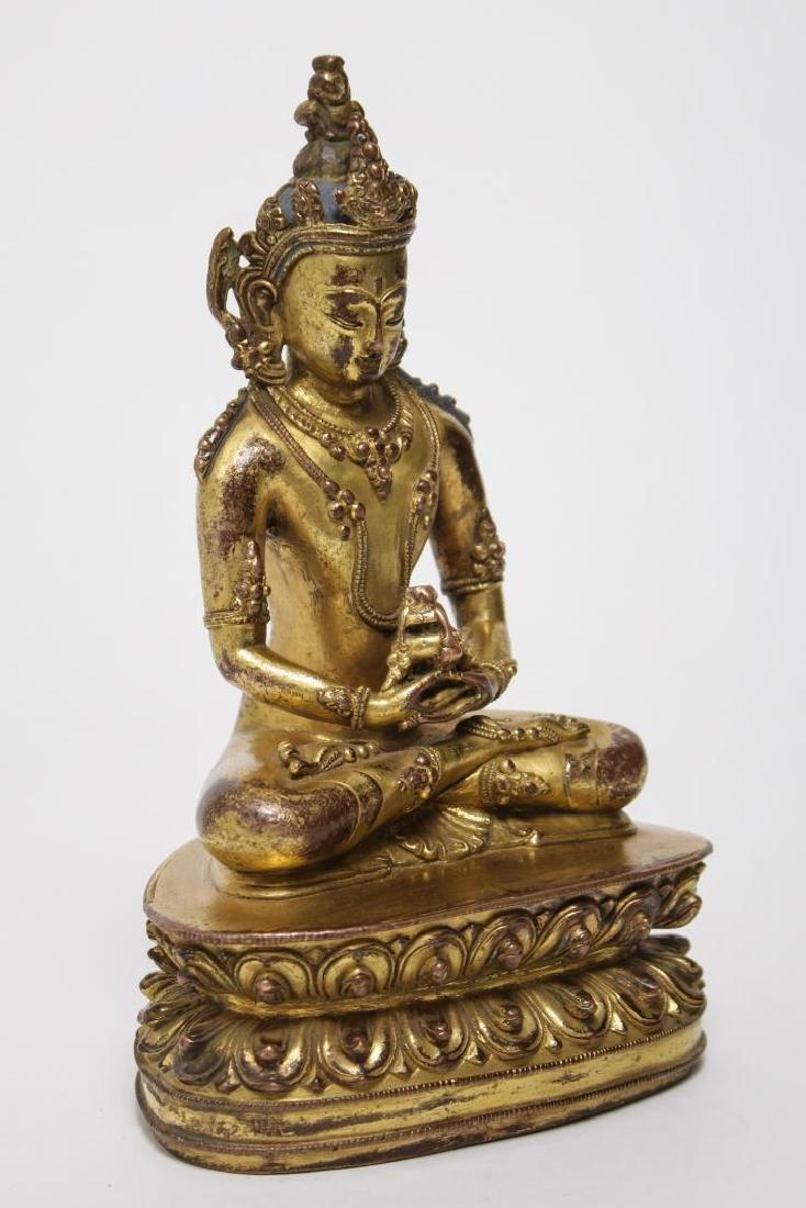 Tibetan Buddha Amitabha Figure, Gilt Bronze - 2