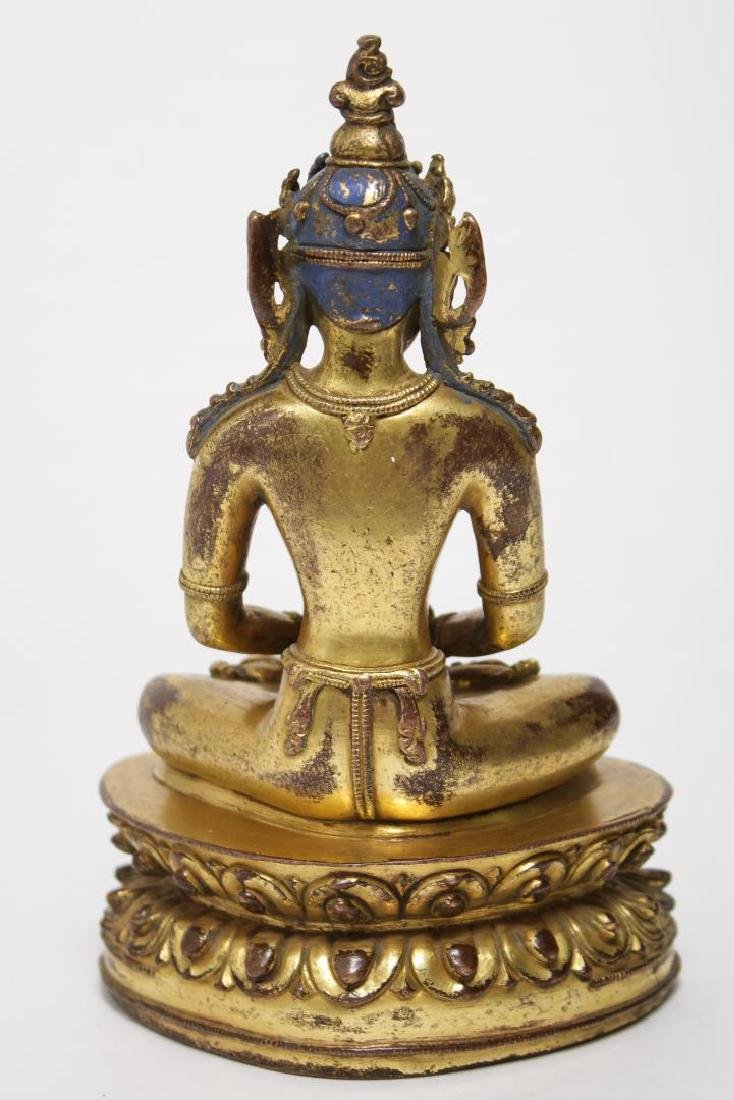 Tibetan Buddha Amitabha Figure, Gilt Bronze - 4