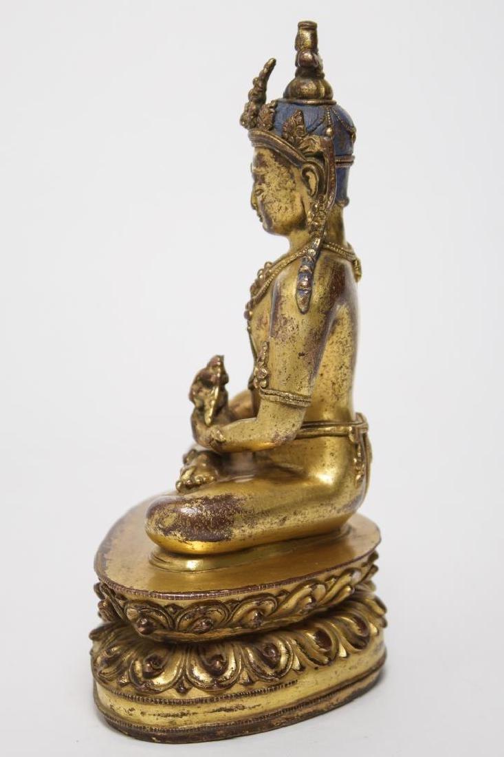 Tibetan Buddha Amitabha Figure, Gilt Bronze - 5
