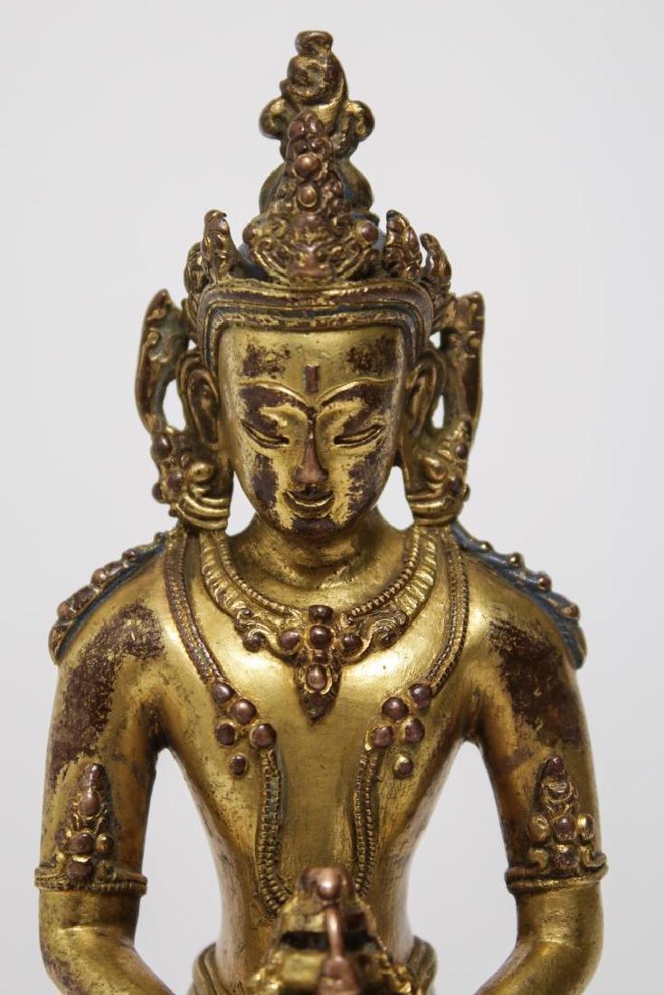 Tibetan Buddha Amitabha Figure, Gilt Bronze - 6