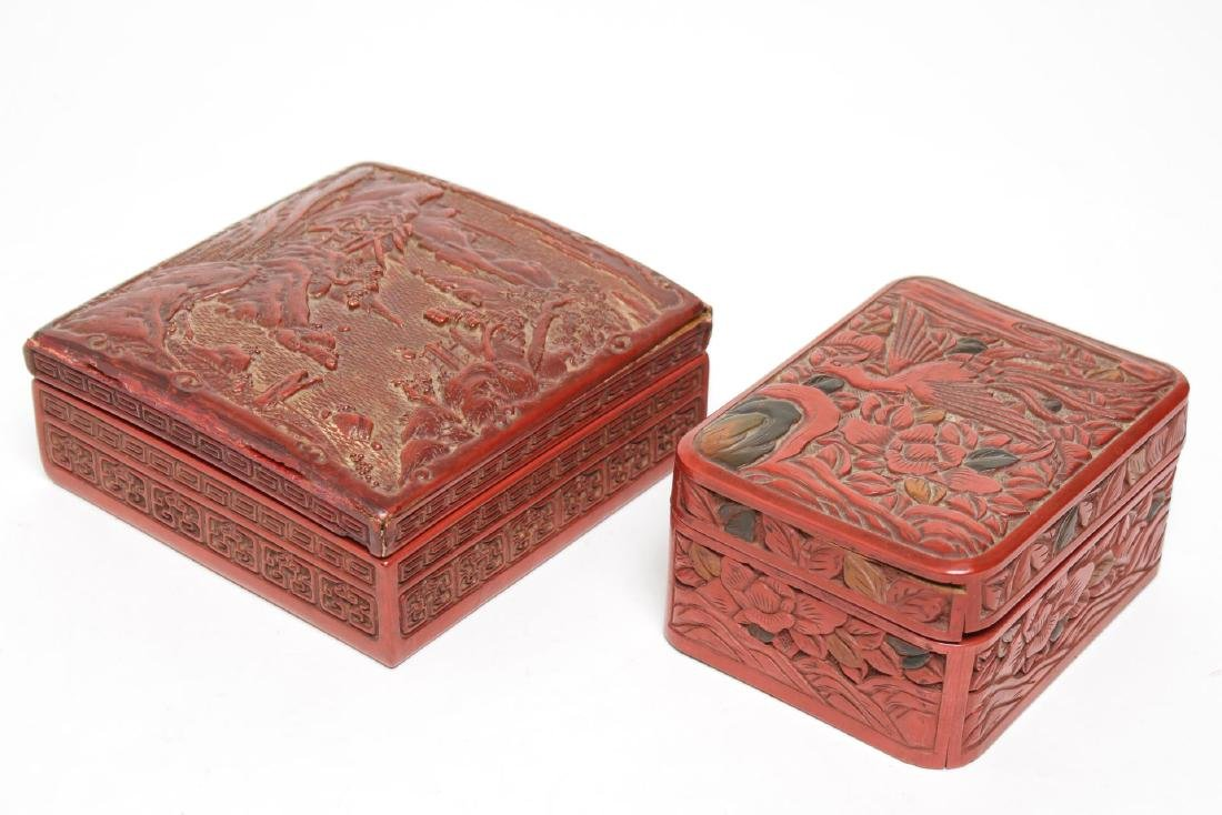 Chinese Carved Cinnabar Boxes, Group of 2