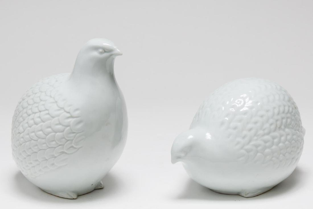 Japanese Ceramic Quail Sculptures, Pair