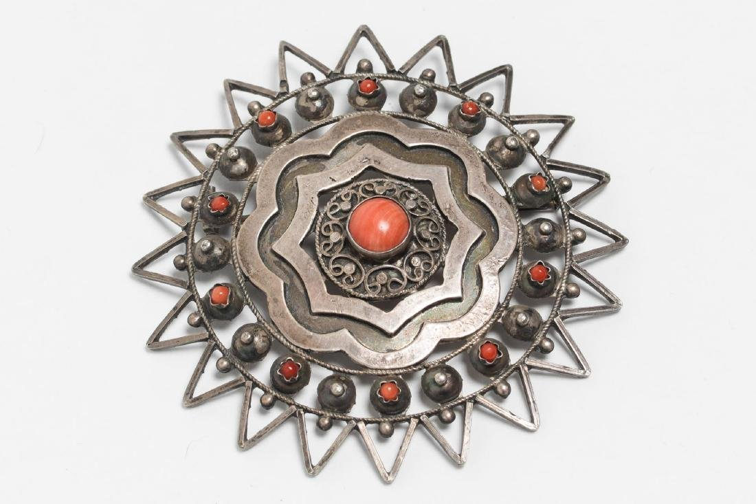 North African Silver & Coral Brooch, Sunburst