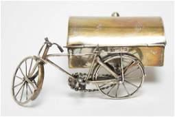 Mexican Silver Bicycle-Form Trinket Box, Vintage