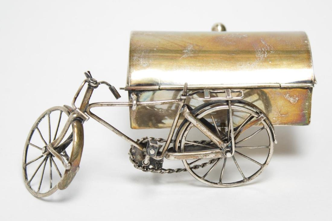 Mexican Silver Bicycle-Form Trinket Box, Vintage