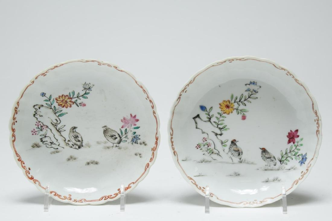 Chinese Export Porcelain Saucers, Pair