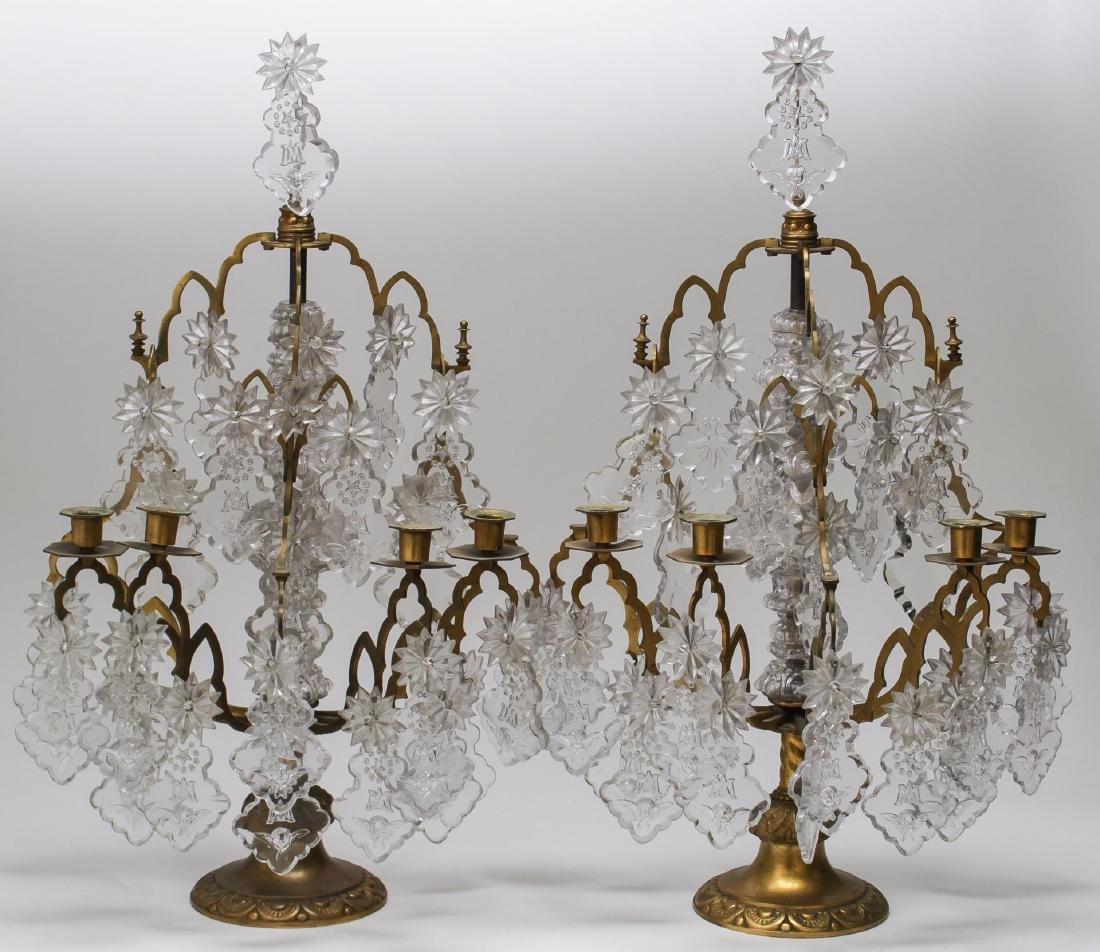 Neoclassical Ormolu & Crystal 4-Light Girandoles