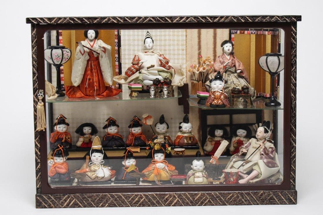 Japanese Vintage Dollhouse & Dolls, Glass & Wood