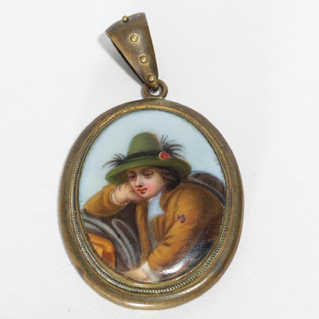 Antique Locket, with Enamel Genre Peasant Portrait