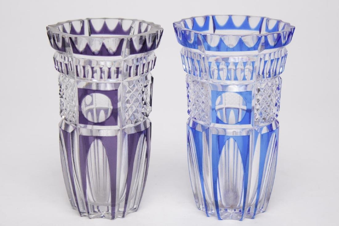 Bohemian Czech Glass Vases, Cut-to-Clear Pair