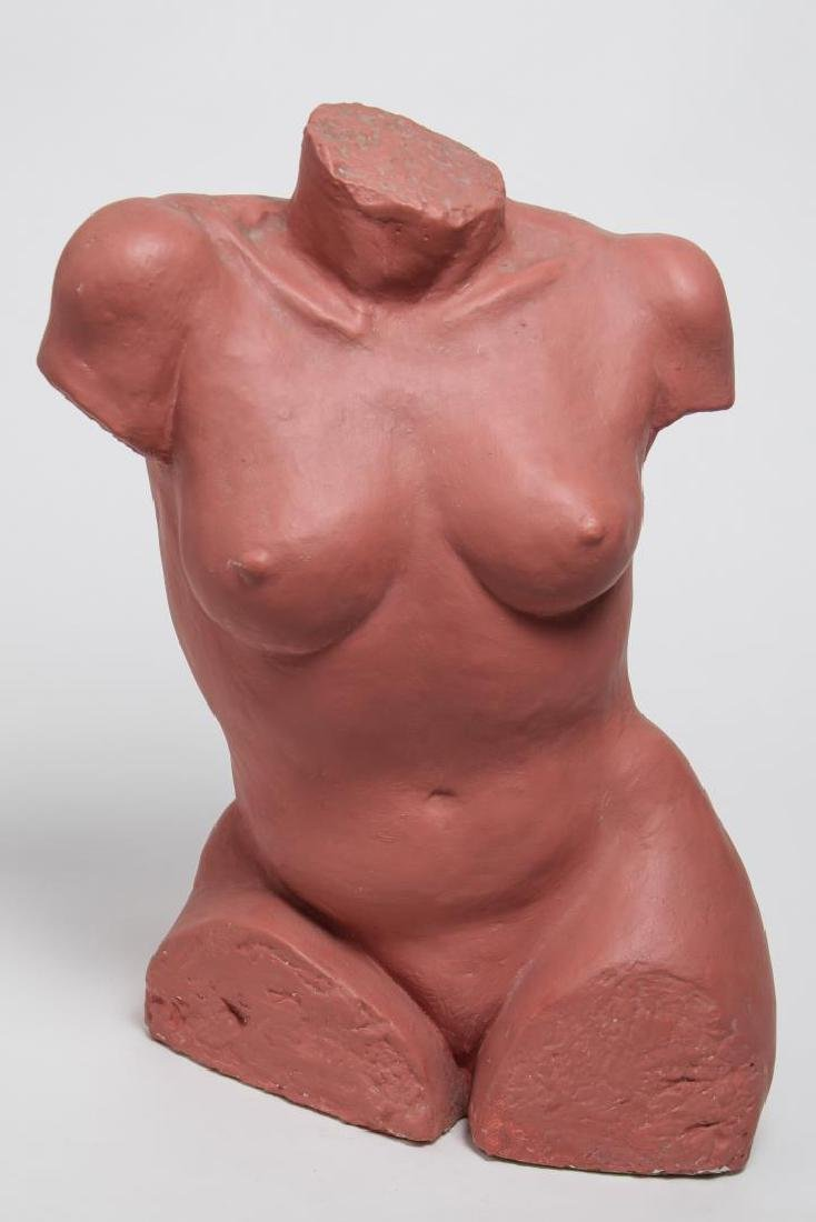 Pottery Figure, Nude Woman's Torso, Red-Painted