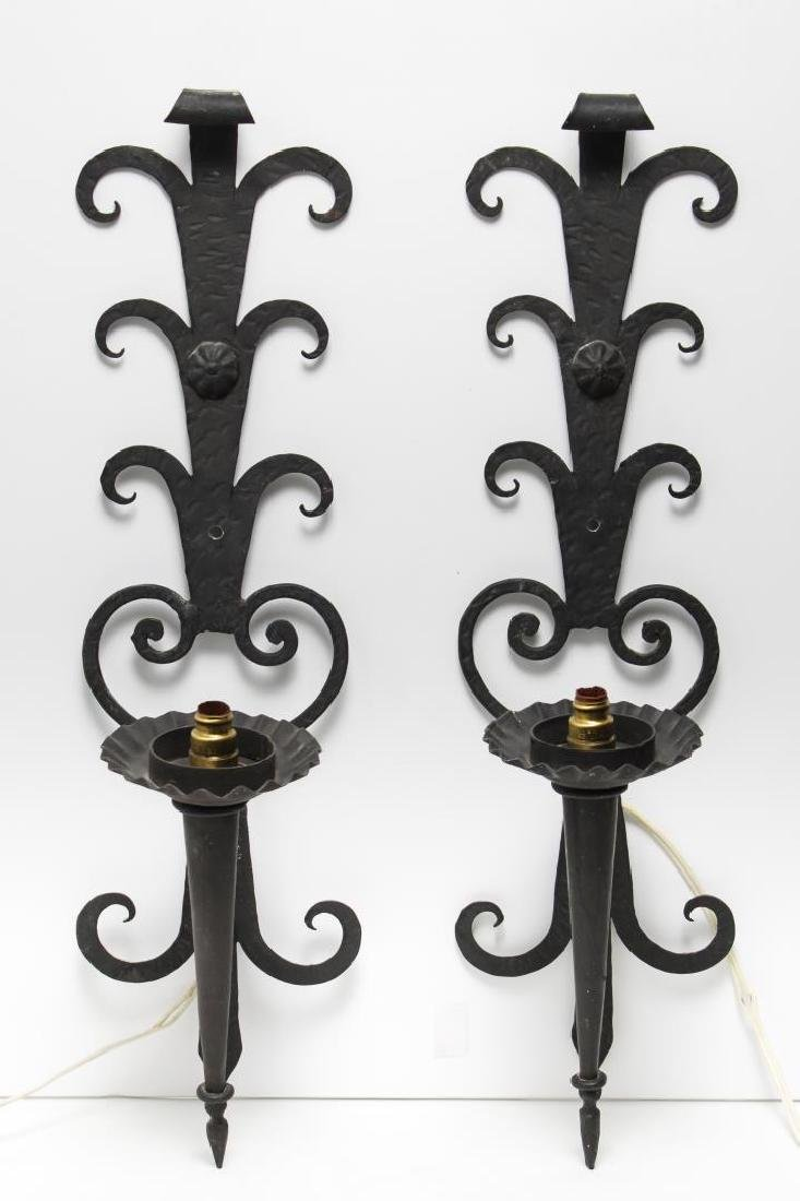 Wrought Iron Candelabra Wall Sconces, Black Pair