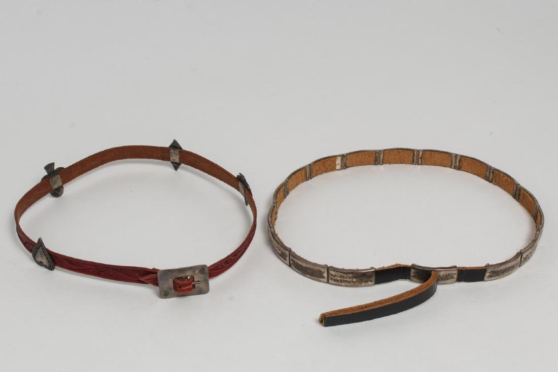 Navajo American Indian Hat Bands, Leather & Silver