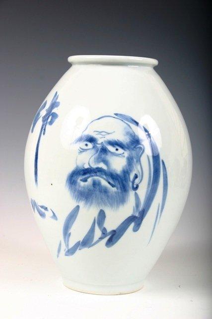 601: Japanese Blue & White Vase with Portrait of Daruma