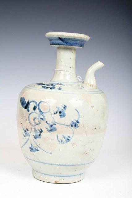 609: 14th-15th C Chinese Blue & White Kenduga Wine Ewer
