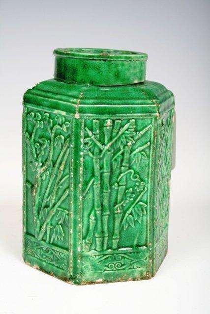 612: 18th C Kang Shi Chinese Green Glazed Tea Caddy
