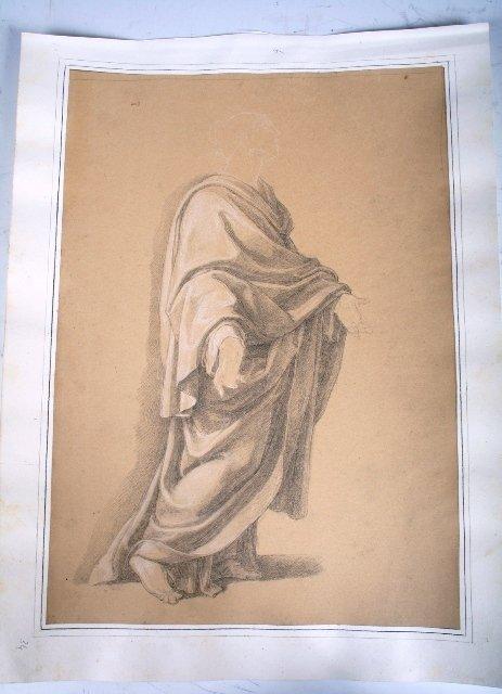 2002: Vincenzo Camuccini Pencil & Pastel Drapery Study