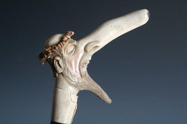 2120: Carved Horn Anti-Semitic Judaica Cane