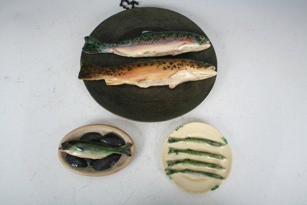 2302: 3 Ceramic Fish Wall Plaques Ben Anderson New York